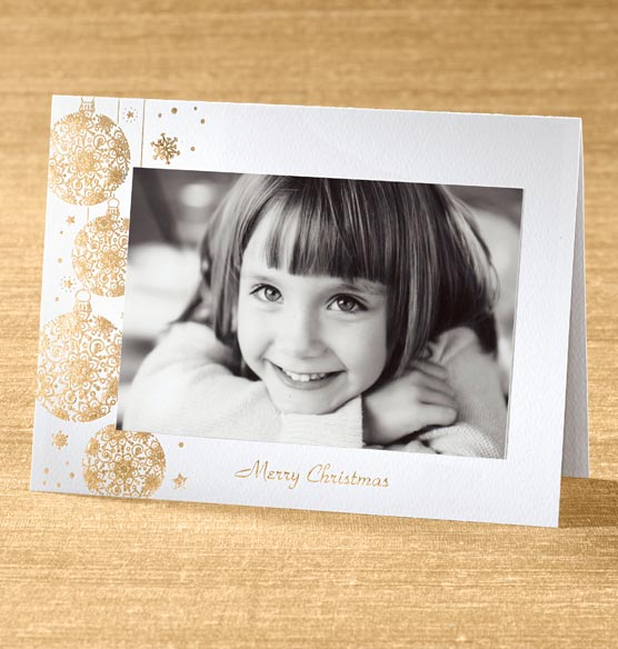 Elegant Ornaments Photo Christmas Card set of 18