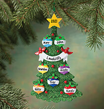 Personalized Green Glitter Tree Ornament   Personalized Family of 3