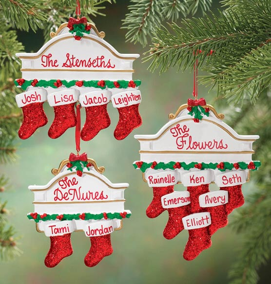 Personalized Christmas Mantel Stocking Ornaments
