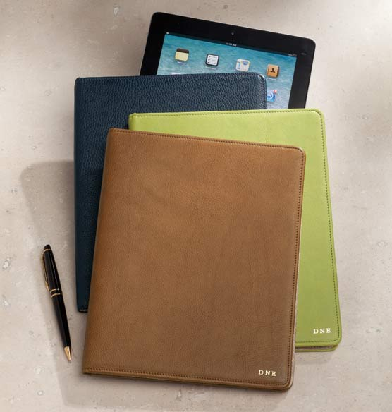 Leather Tablet Carrier Personalized - View 1
