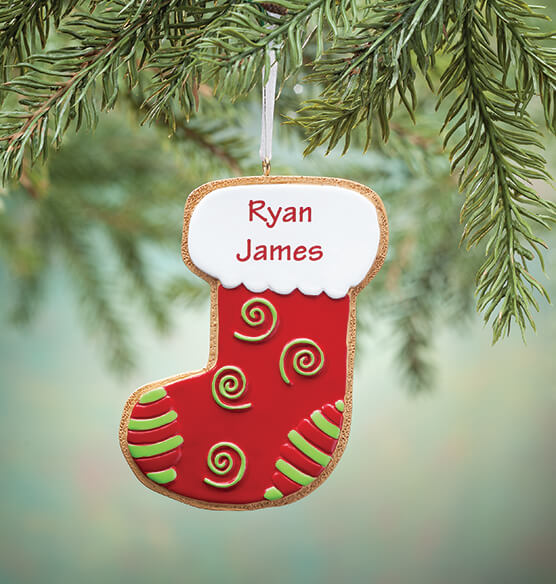 Personalized Stocking Christmas Cookie Ornament - View 1