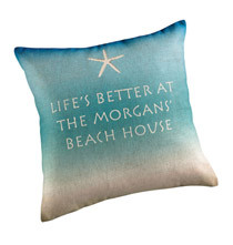 Beach House Personalized Pillow