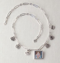 Jewelry & Clothing - Chain Necklace with Photo & Charms