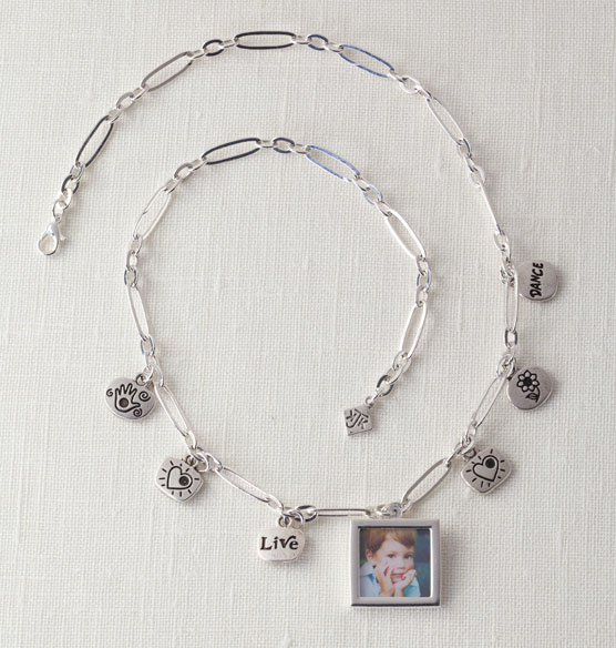Chain Necklace with Photo & Charms - View 1