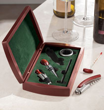 Gifts for the Wine Lover - Wine Set in Personalized Wood Box