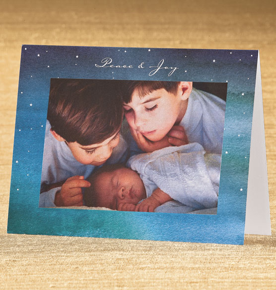 Watercolor Peace & Joy Photo Christmas Card Set of 18 - View 1