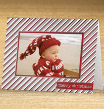 Photo Insert Cards - Peppermint Wishes Photo Christmas Card Set of 18