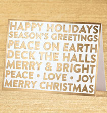 Holiday Cards - Golden Greetings Non-Photo Christmas Card Set of 18