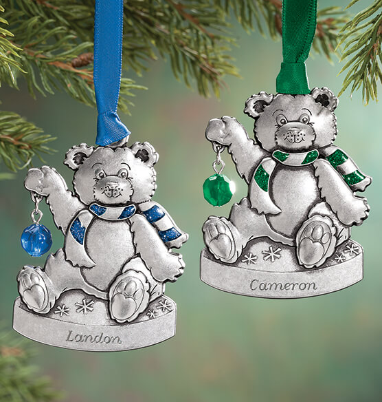 Personalized Pewter Birthstone Bear Ornament