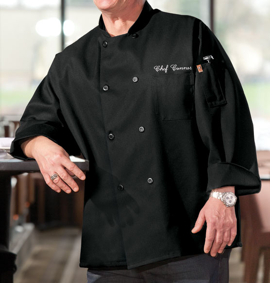 Chefs Jacket Black  Personalized - View 1