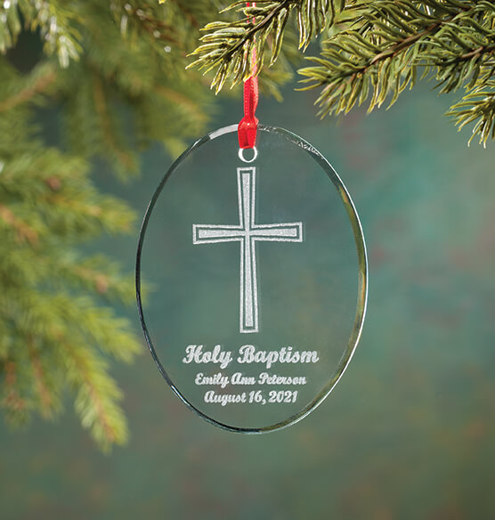 Personalized Glass Baptism Ornament