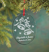 Holiday Ornaments - Personalized Glass Wedding Ornament