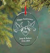 Holiday Ornaments - Personalized Glass Anniversary Ornament