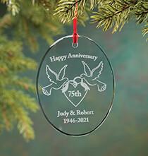 Personalized Glass Anniversary Ornament