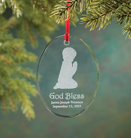 Personalized Glass Praying Child Ornament