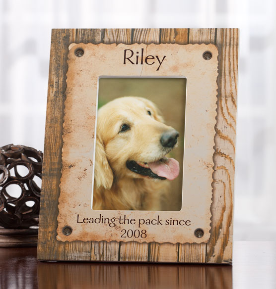 Personalized Rustic Look Dog or Cat Photo Frame