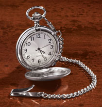 Gifts for Him - Pocket Watch in Brushed Nickle Finish