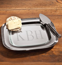 Gifts for the Hostess - Silver Cheese Tray with Server