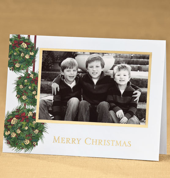 Yuletide Greetings Photo Christmas Card Set of 18