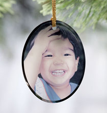 Oval Glass Photo Ornament