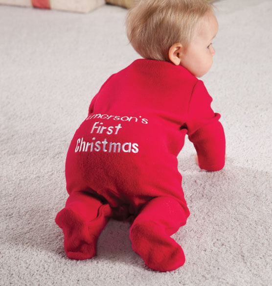 Personalized Baby's First Christmas Long Johns