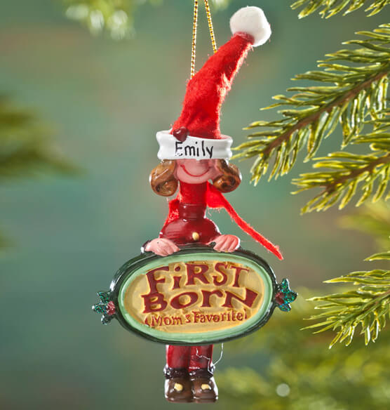 Personalized Mom's Favorite First Born Ornament
