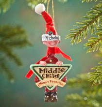 New - Mom's Favorite Middle Child Ornament