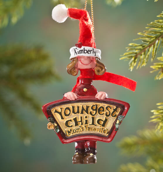 Personalized Mom's Favorite Youngest Child Ornament - View 1