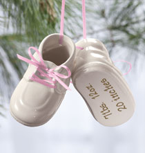 Holiday Ornaments - Personalized Baby Bootie Ornament