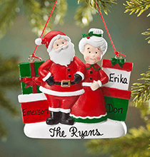 Personalized Mr. and Mrs. Claus with Presents Ornament
