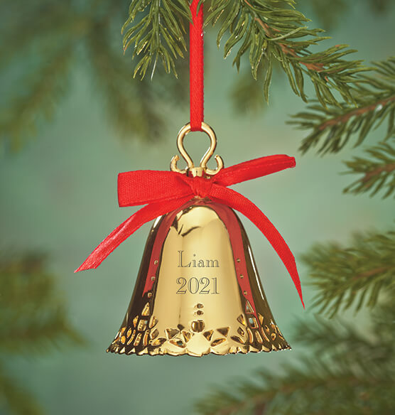 Personalized Gold Plated Christmas Bell Ornament
