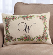 Personalized Pillows - Holiday Holly Throw Pillow
