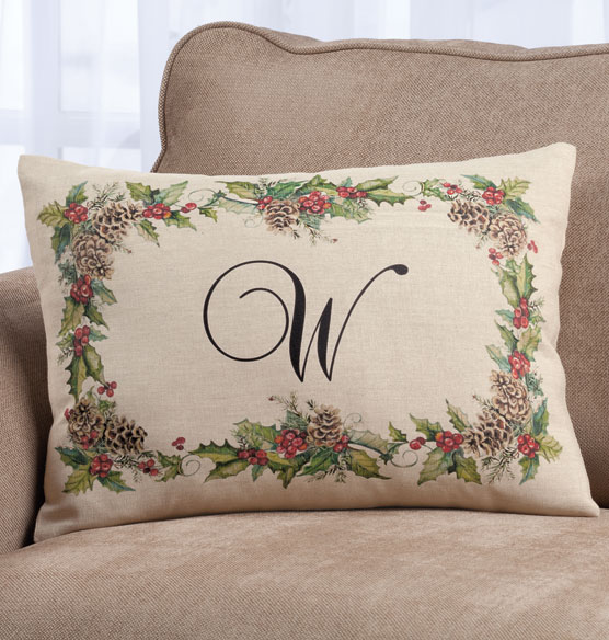 Holiday Holly Throw Pillow