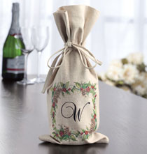 Holiday Holly Wine Bag