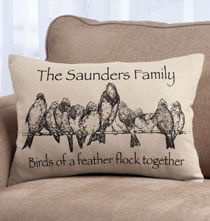 Gifts Under $50 - Birds on a Wire Personalized Pillow