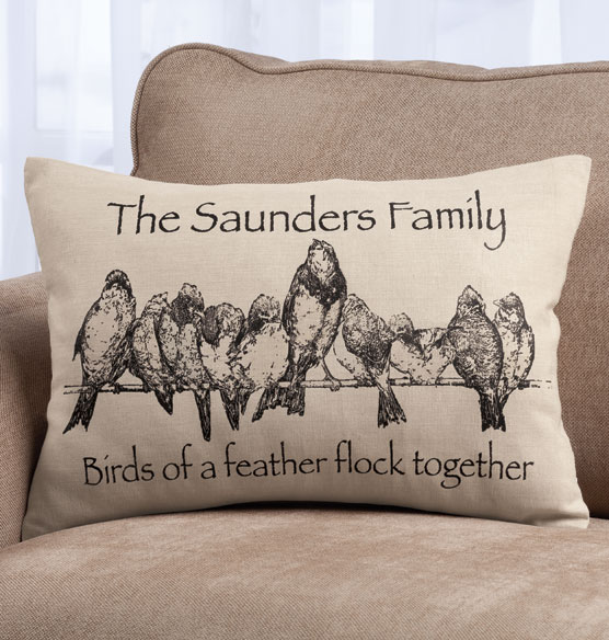 Birds on a Wire Personalized Pillow - View 1
