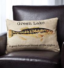 Fisherman's Lake Personalized Pillow