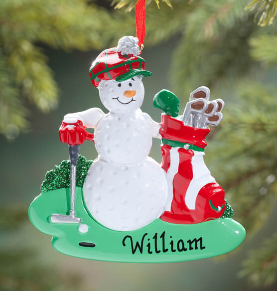 Personalized Golf Ball Snowman Ornament