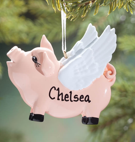 Personalized Flying Pig Ornament