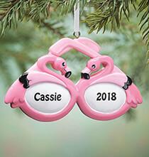 Personalized Flamingo Sunglasses Ornament