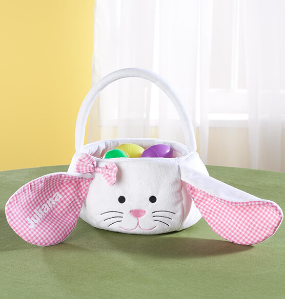 Personalized Gingham Easter Bunny Basket - View 1