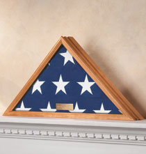 Personalized Tabletop - Personalized Veterans Flag Display Case, Honey
