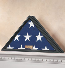 Personalized Tabletop - Personalized Veterans Flag Display Case Black