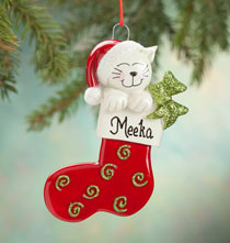Holiday Ornaments - Personalized Happy Cat Stocking Ornament
