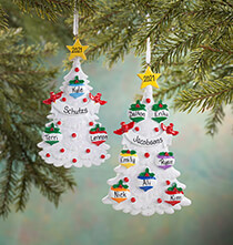 Personalized White Glitter Tree Ornament   Personalized Family of 3