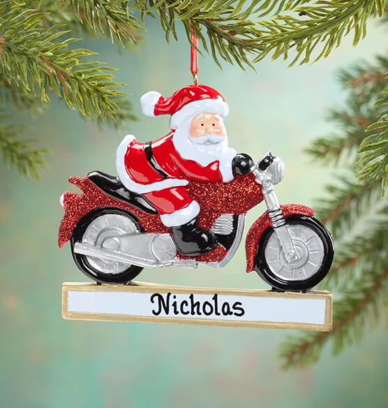 Personalized Cruisin' Santa Ornament