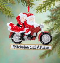 Personalized Cruisin' Claus Couple Ornament