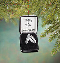 New - Personalized Wedding Ring Box Ornament