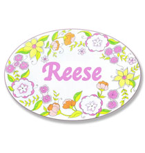 Personalized Wall Décor - Personalized Floral Drawing Name Plaque