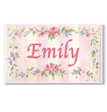 Personalized Wall Décor - Personalized Rose Stripe Name Plaque